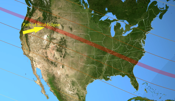 USA Eclipse Path Image 700